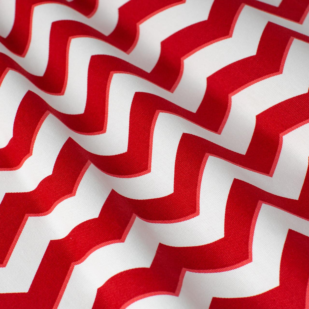 Ткань декоративная для штор, подушек с красно-белым зигзагом и тефлоном
