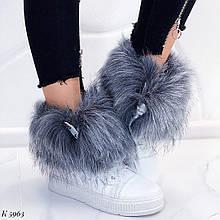 Женские ботинки ЗИМА / зимние  белые с опушкой натуральная кожа