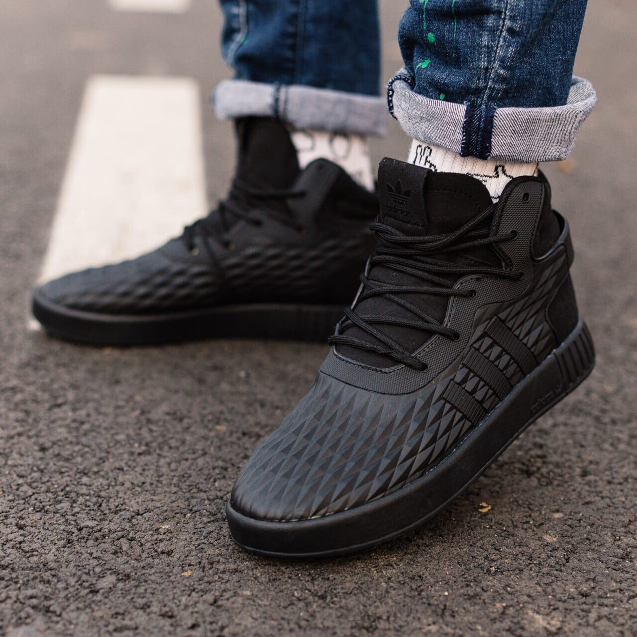 Мужские черные Кроссовки Adidas Tubular