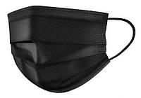 Маска черная для лица защитная паяная с зажимом для носа Black Mask от 1000 шт