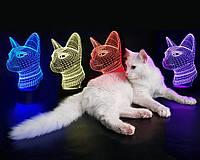 """3D ночник-светильник """"Кошечка"""" с USB шнуром для детей и взрослых"""