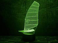 3D ночник-светильник в виде Парусника с USB шнуром для детей и взрослых