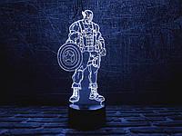 """3D ночник-светильник """"Капитан Америка 1"""" с USB шнуром для детей и взрослых"""