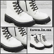 Женские зимние ботинки на массивной подошве Loretta Y210-1 white белые на шнуровке ,на осень-зиму. 36 - 41 р.