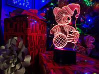 """3D светильник """"Мишка новогодний"""" с USB шнуром для детей и взрослых"""