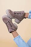 Ботинки женские замшевые цвета латте, на шнурках, зимние, фото 7