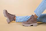Ботинки женские замшевые цвета латте, на шнурках, зимние, фото 9