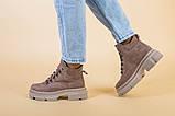 Ботинки женские замшевые цвета латте, на шнурках, зимние, фото 8
