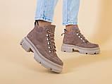 Ботинки женские замшевые цвета латте, на шнурках, зимние, фото 10