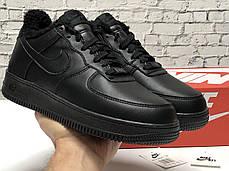 """Зимние кроссовки на меху Nike Air Force """"Черные"""", фото 2"""