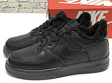 """Зимние кроссовки на меху Nike Air Force """"Черные"""", фото 3"""
