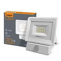 Прожектор LED 20W 5000K з датчиком руху та освітленості VIDEX, 24370