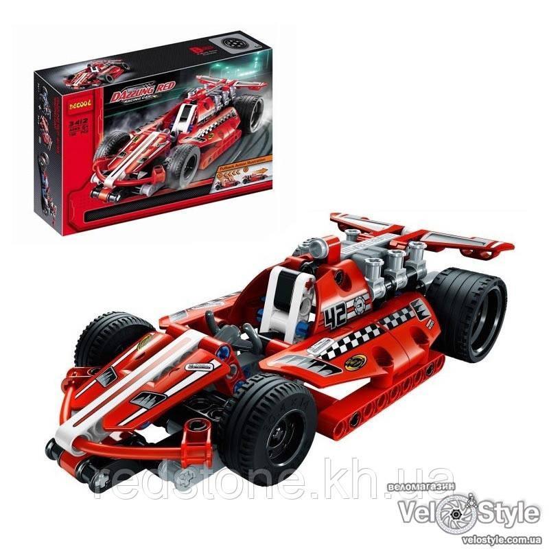 Конструктор Decool 3412 Суперкар DAZZLING-RED с инерционным механизмом, 158 дет