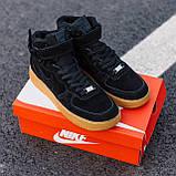Кроссовки зимние Nike Air Force high black (Реплика ААА), фото 5