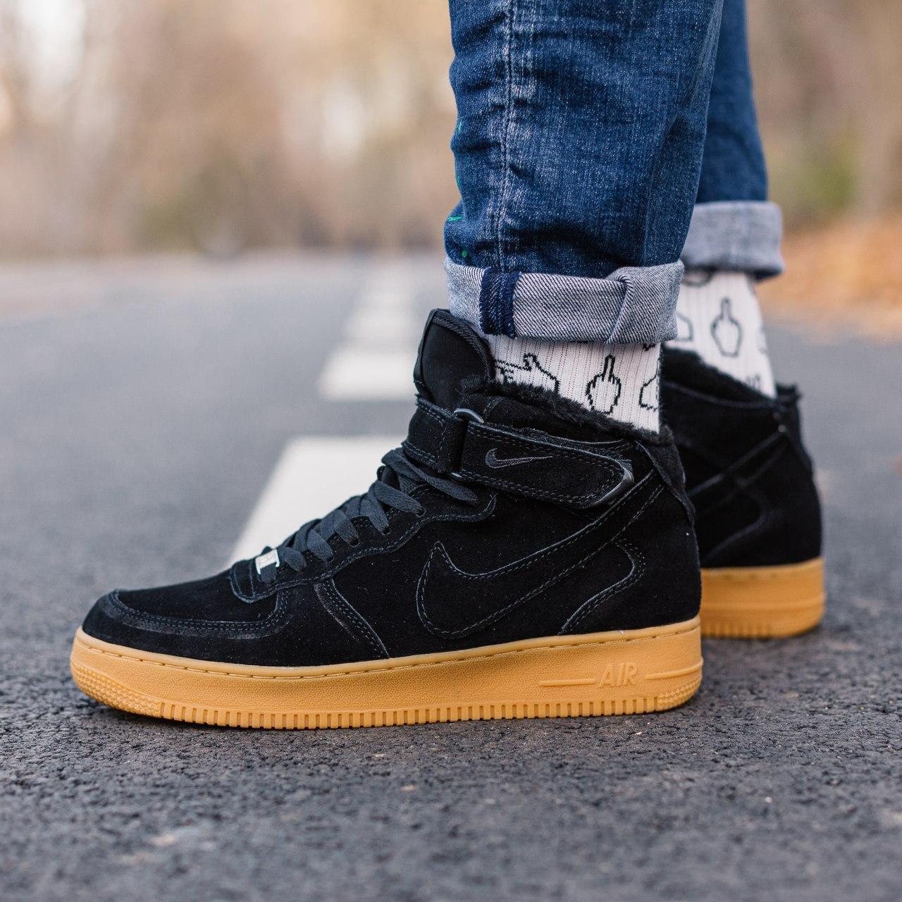 Кроссовки зимние Nike Air Force high black (Реплика ААА)