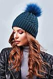 Стильная зимняя женская шапка с меховым пампоном и подворотом (4 цвета, р.UNI), фото 3