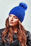 Стильная зимняя женская шапка с меховым пампоном и подворотом (4 цвета, р.UNI), фото 4