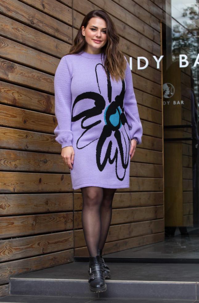 Теплое вязаное платье «Zемфира» (лиловый, черный, изумруд)