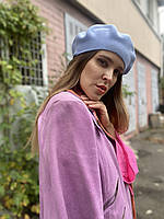 Берет женский вязаный  стильный голубой, фото 1