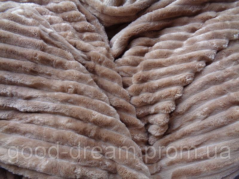Покрывало плед полоска Шарпей Евро 200х230 см Мокко