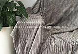 Покрывало плед полоска Шарпей Евро 200х230 см Мокко, фото 2