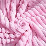 Покрывало плед полоска Шарпей Евро 200х230 см Розовое, фото 2