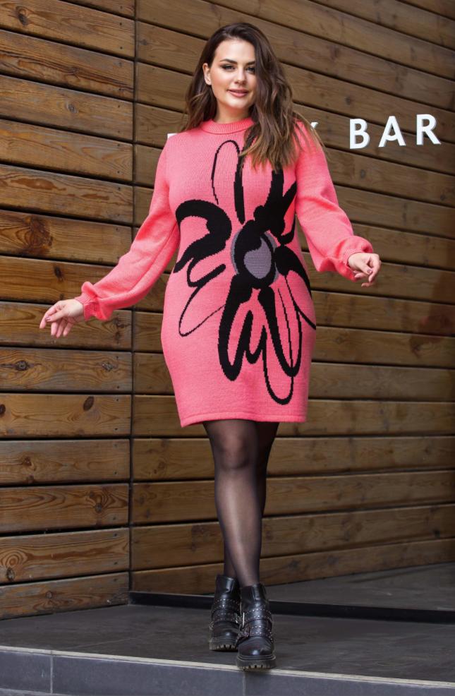 Тепле в'язана сукня «Zемфира» (кораловий, чорний, сірий)
