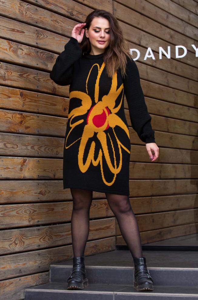 Теплое вязаное платье «Zемфира» (черный, горчица, вишня)