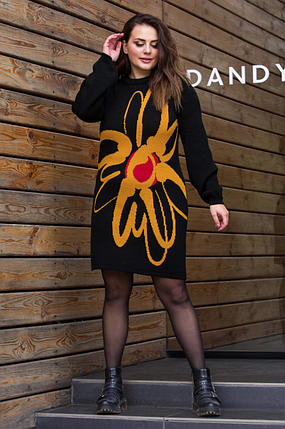 Теплое вязаное платье «Zемфира» (черный, горчица, вишня), фото 2