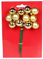 Гроно декоративних ягід, 2см*12 шт, золотий новорічний декор