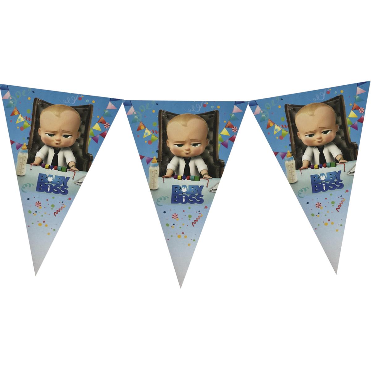 Паперова гірлянда принт блакитний принт Босс Молокосос Baby Boss  2м