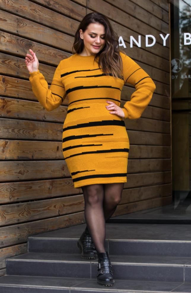 Теплое вязаное платье «Линда» (горчица, черный)