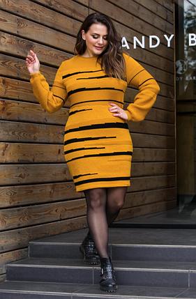 Теплое вязаное платье «Линда» (горчица, черный), фото 2