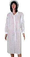 Халаты одноразовые медицинские на кнопках с манжетами, Белые (5 шт/уп)