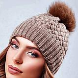 Стильная зимняя женская шапка с меховым пампоном и подворотом (4 цвета, р.UNI), фото 6