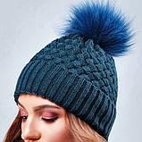 Стильная зимняя женская шапка с меховым пампоном и подворотом (4 цвета, р.UNI), фото 7