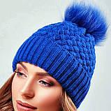 Стильная зимняя женская шапка с меховым пампоном и подворотом (4 цвета, р.UNI), фото 8