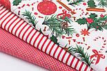 Набор новогодних тканей из 3 штук в красных тонах 50*50 см, фото 2