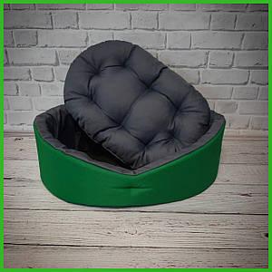 Лежанка для домашних питомцев, животных. Лежак для собак и кошек со съемной подушкой. Цвет: Зеленый с серым