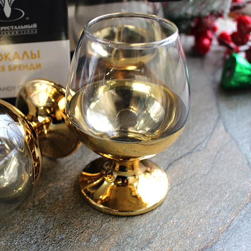 Набор бокалов для бренди с золотым рисунком Гусь-Хрустальный Поло (EAV147-483)
