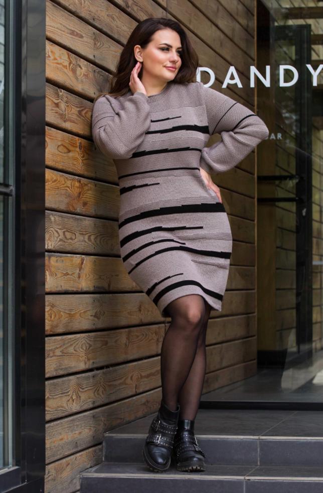 Теплое вязаное платье «Линда» (капучино, черный)