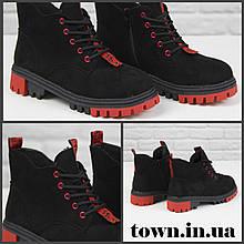 Женские зимние ботинки на массивной подошве Loretta Y203-5 black черные на шнуровке ,на осень-зиму. 36 - 41 р.