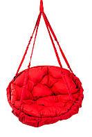 Подвесное кресло для дома и сада с большой круглой подушкой 96 см до 150 кг красного цвета без подставки