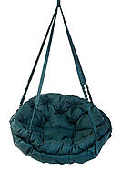 Подвесное кресло для дома и сада с большой круглой подушкой 96 см до 150 кг темно зеленый цвет без подставки
