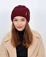 Женская вязаная шапка на флисе сделана из Турецкой пряжи