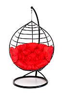 Подвесное кресло кокон для дома и сада с большой подушкой до 150 кг красного цвета в черном коконе AURORA-S