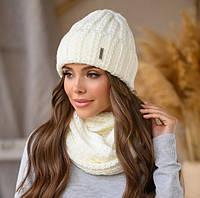 "Женская шапка и хомут ""СИМОНА"" набор вязаный белый"