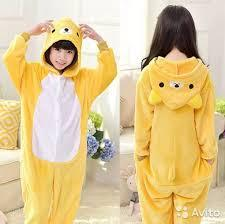 Пижама кигуруми детская р. 140 см жолтый мишка