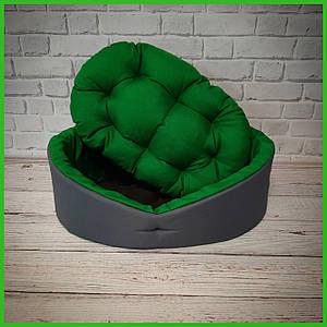 Лежанка для домашних питомцев, животных. Лежак для собак и кошек со съемной подушкой. Цвет: Серый с зеленым