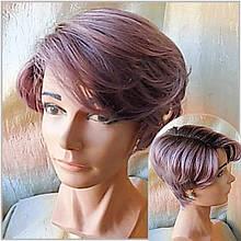 Парик из натуральных волос боб-каре с боковым пробором омбре сереневый SCARLET-2/PURPLE